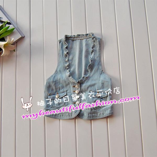 เสื้อผ้าแฟชั่น: เสื้อกั๊กยีนส์ hip and chic