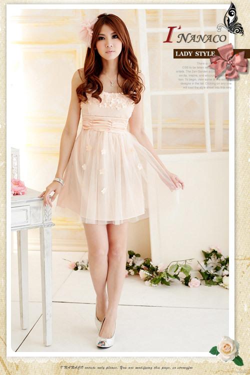 เสื้อผ้าแฟชั่น เสื้อผ้าเกาหลี เดรสเกาะอกแต่งดอกเดซี่หน้าอก