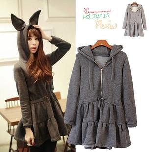 เสื้อกันหนาวพร้อมส่ง : แจ๊คเก็ต fleece หูกระต่าย