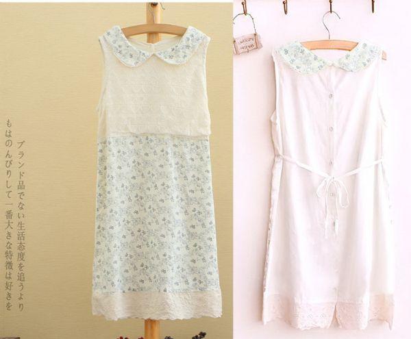 เสื้อผ้าแฟชั่นพร้อมส่ง : เดรสลูกไม้ผ้าคอตต้อนสไตล์ญี่ปุ่น