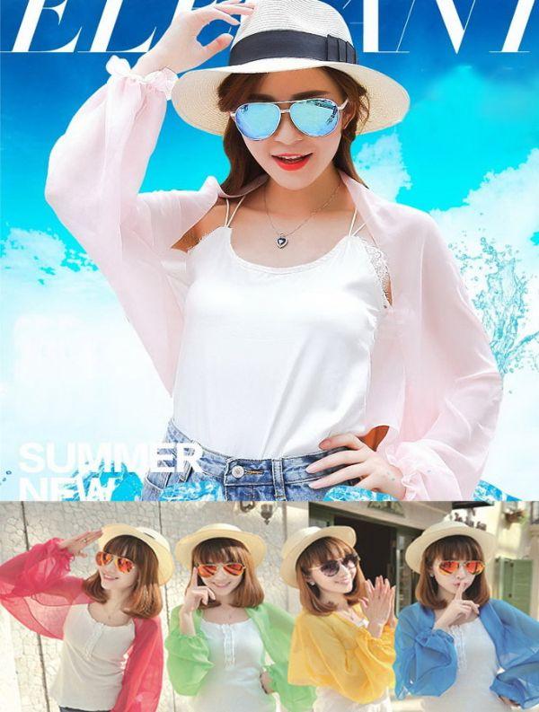 เสื้อผ้าแฟชั่น : เสื้อคลุมกันแดดกัน UV สีหวาน